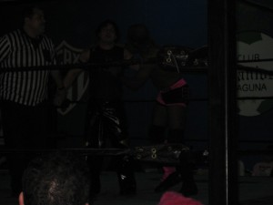 La Vaca, Golden Star, and Bryce, after the main event